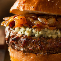 >Blue Cheese & Caramelized Onions Burger