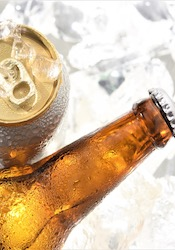 Beer Can and Bottle on Ice