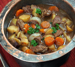 Irish Stew in copper pot