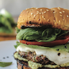Mozzarella Burger with Spinach-Arugula Pesto