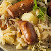 German Sausages with Bacon & Apple Sauerkraut