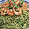Walnut Pesto Pasta with Grilled Garlic Shrimp